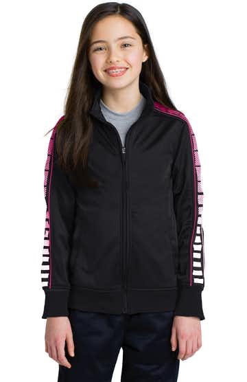 Sport-Tek YST93 Black / Pink Raspberry