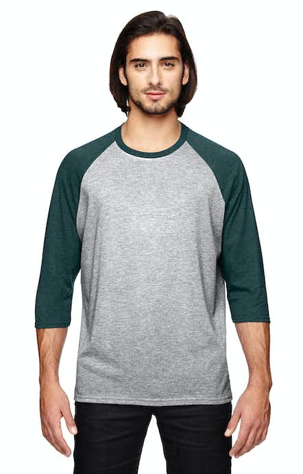 Anvil 6755 Heather Grey/Heather Dark Green