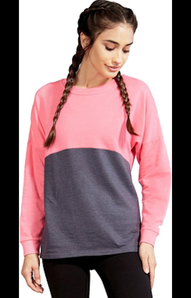 Soffe S5353VP Gray Heather / Neon Pink