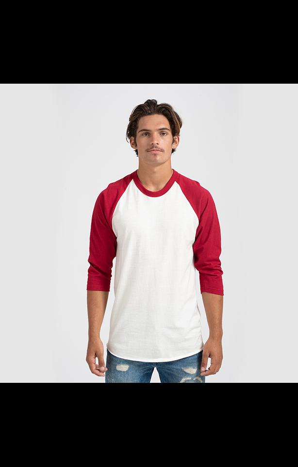 Tultex 0245TC Vintage White/Rio Red