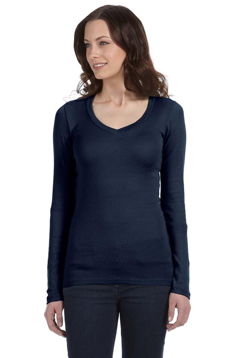 8c041f89e Bella+Canvas B8750 Ladies' Sheer Mini Rib Long-Sleeve V-Neck T-Shirt ...