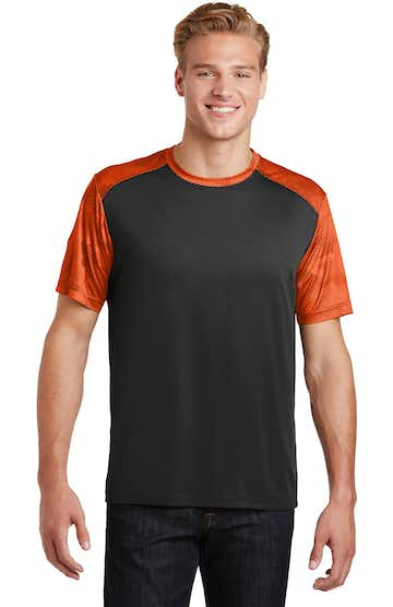 Sport-Tek ST371 Black / Neon Orange