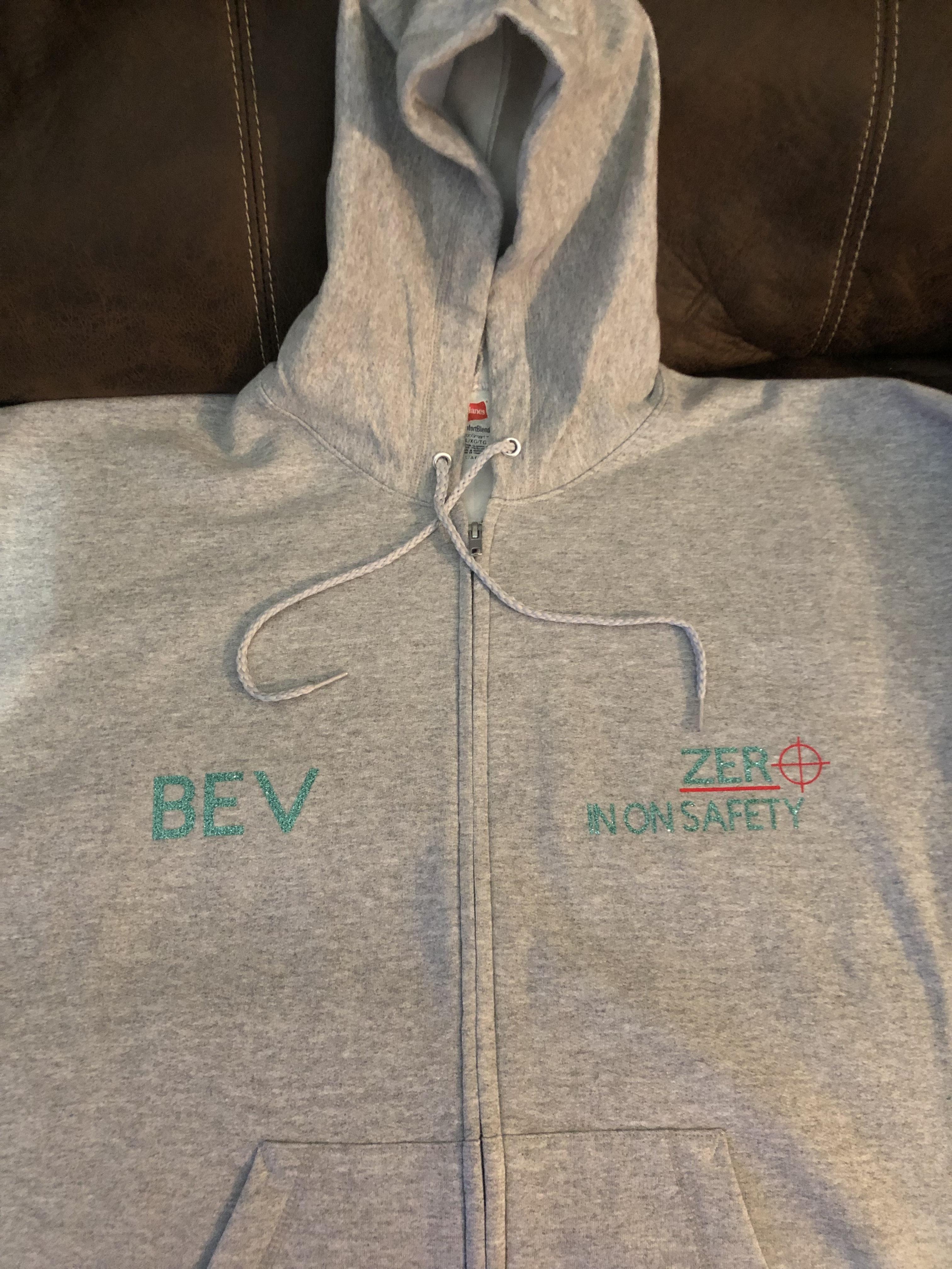 Hanes P180 customer review by  Light gray full zip sweatshirt